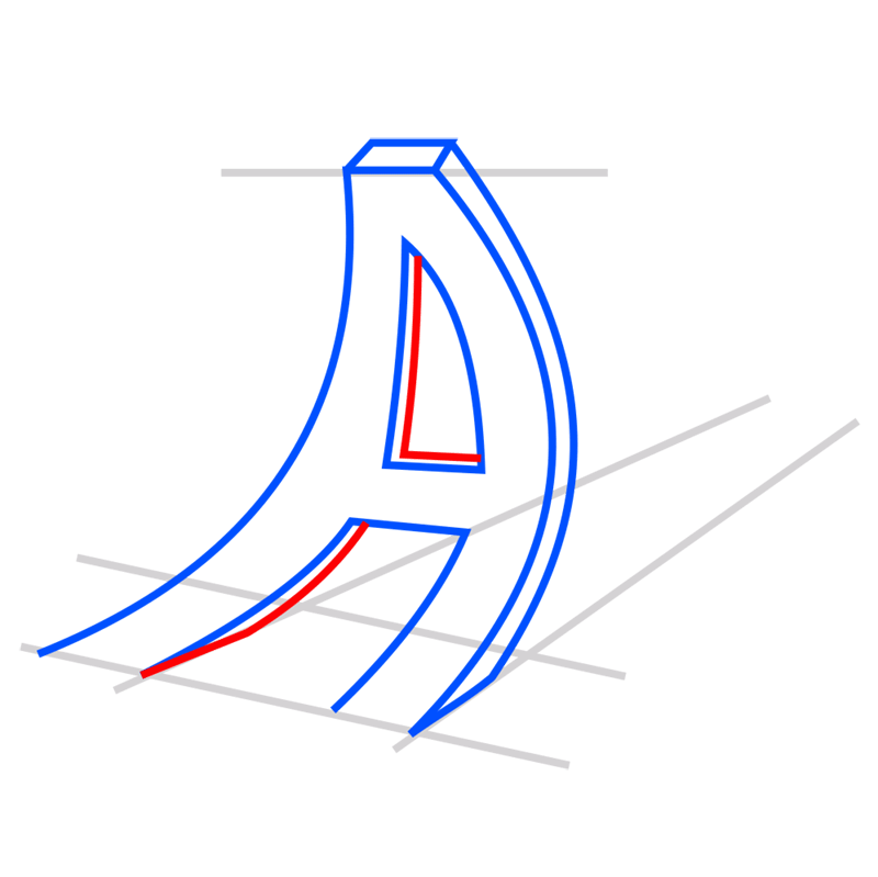 Learn easy to draw 3D Typography Illusion step 05