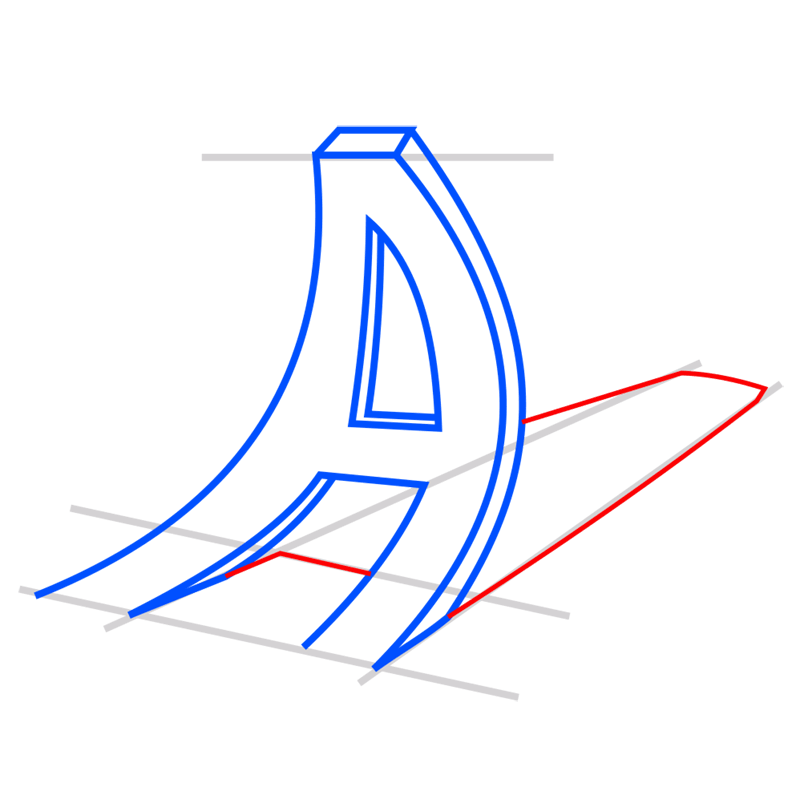 Learn easy to draw 3D Typography Illusion step 06