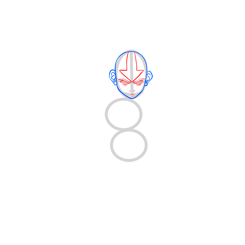 Learn easy to draw Aang Avatar step 04