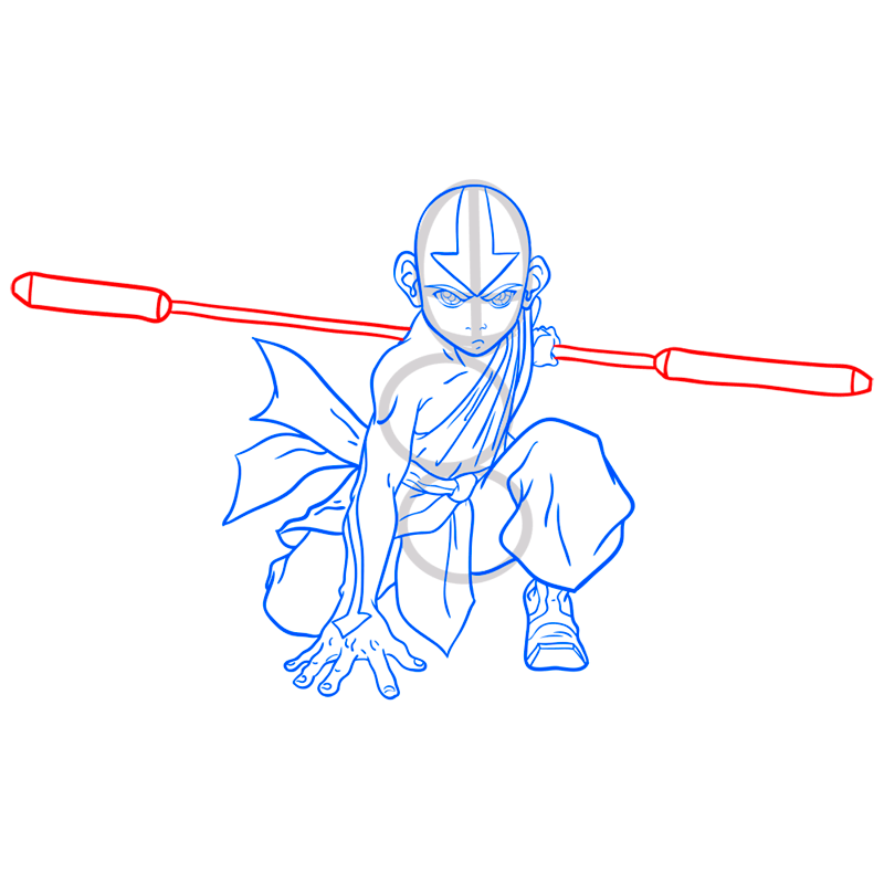 Learn easy to draw Aang Avatar step 10