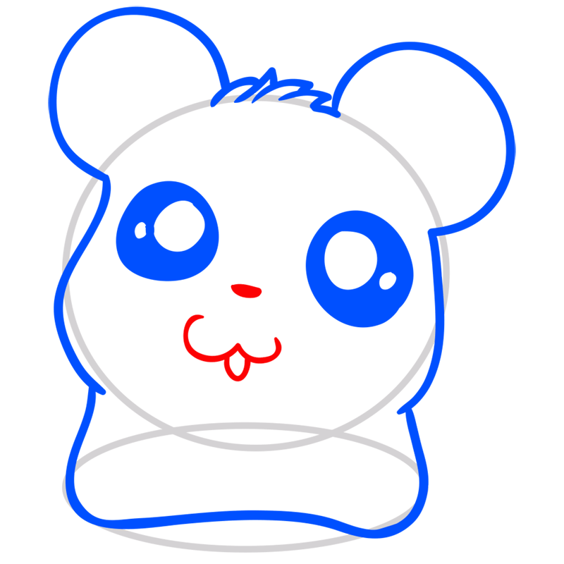 Learn easy to draw Adorable Hamster step 05