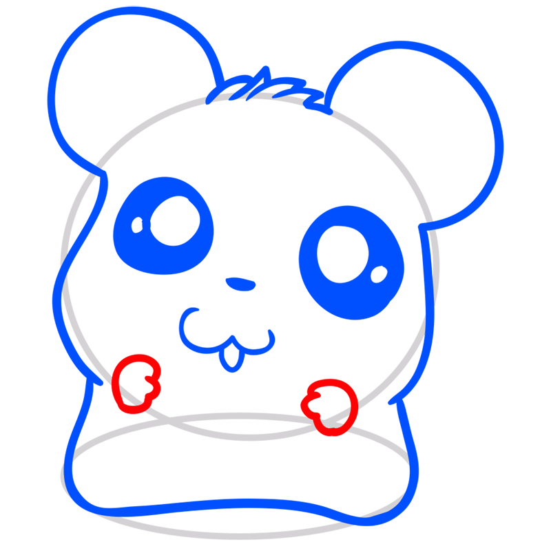 Learn easy to draw Adorable Hamster step 06
