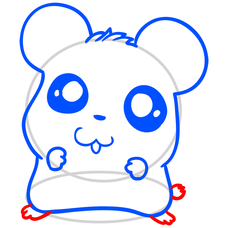 Learn easy to draw Adorable Hamster step 07