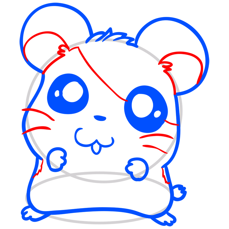 Learn easy to draw Adorable Hamster step 08
