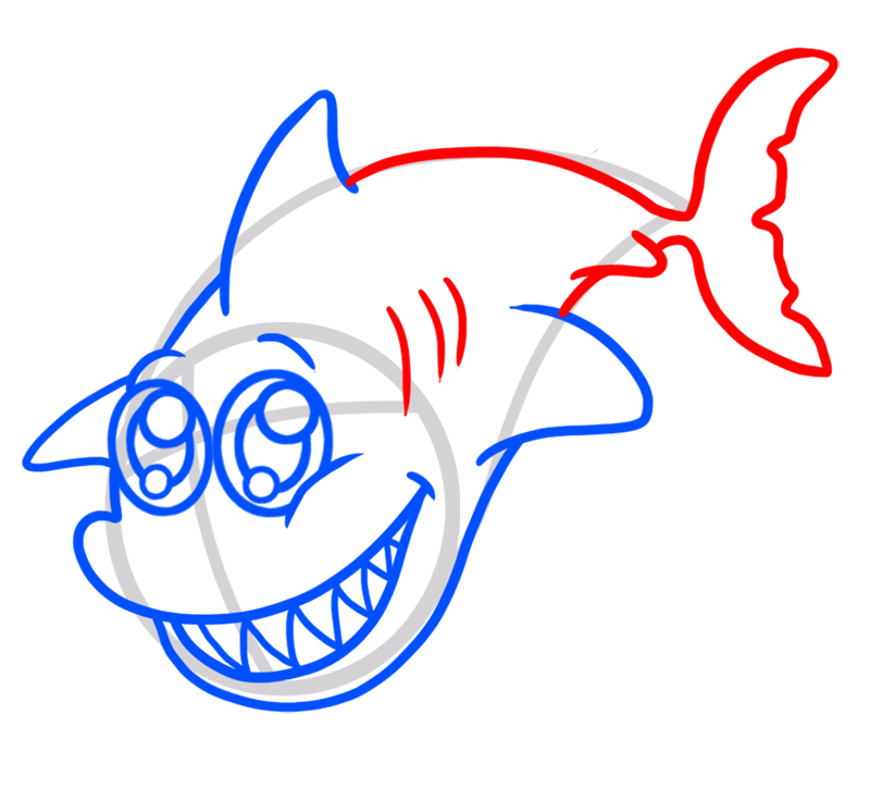 Learn easy to draw Adorable Shark step 05