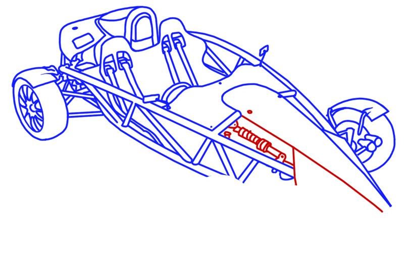 Learn easy to draw Ariel Atom 500 step 16
