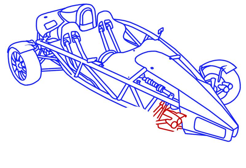Learn easy to draw Ariel Atom 500 step 18