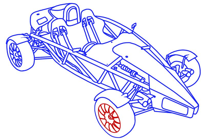 Learn easy to draw Ariel Atom 500 step 20