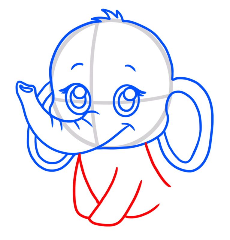 Learn easy to draw Baby Elephant step 05