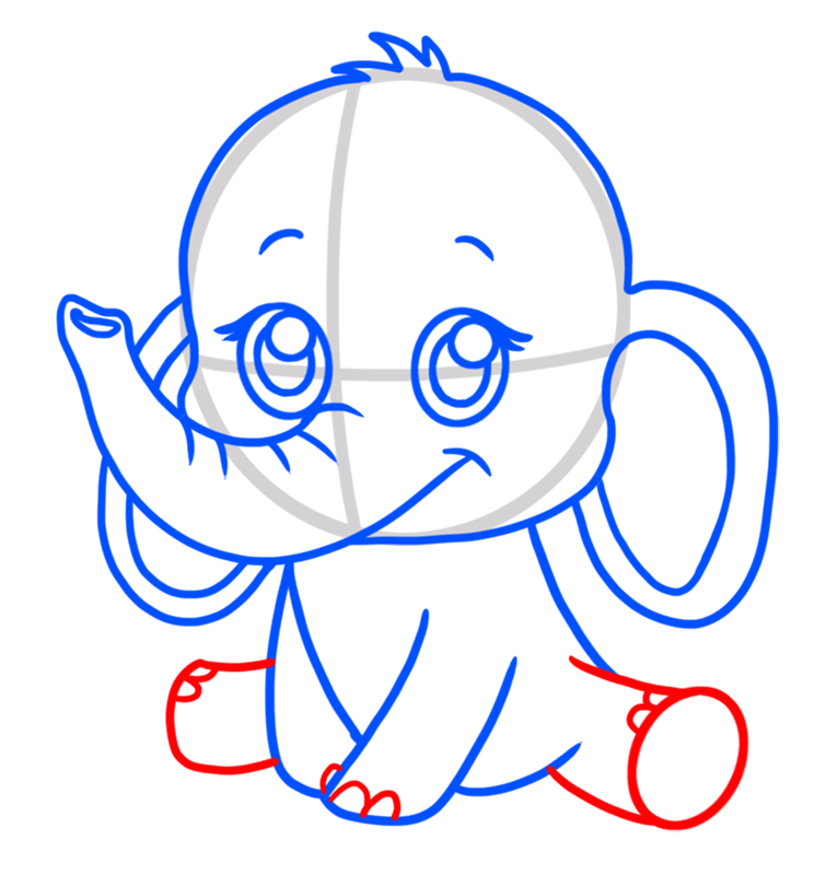Learn easy to draw Baby Elephant step 06