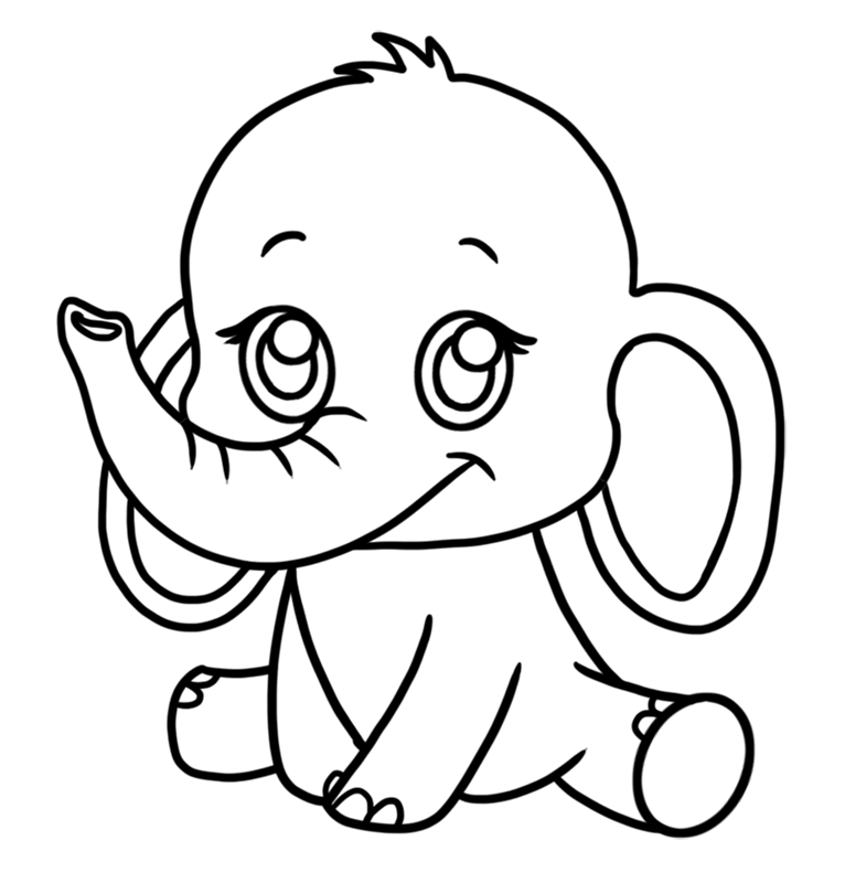 Learn easy to draw Baby Elephant step 07