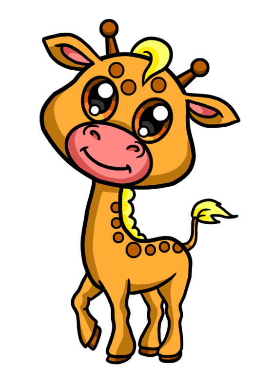 Learn easy to draw Baby Giraffe step 09