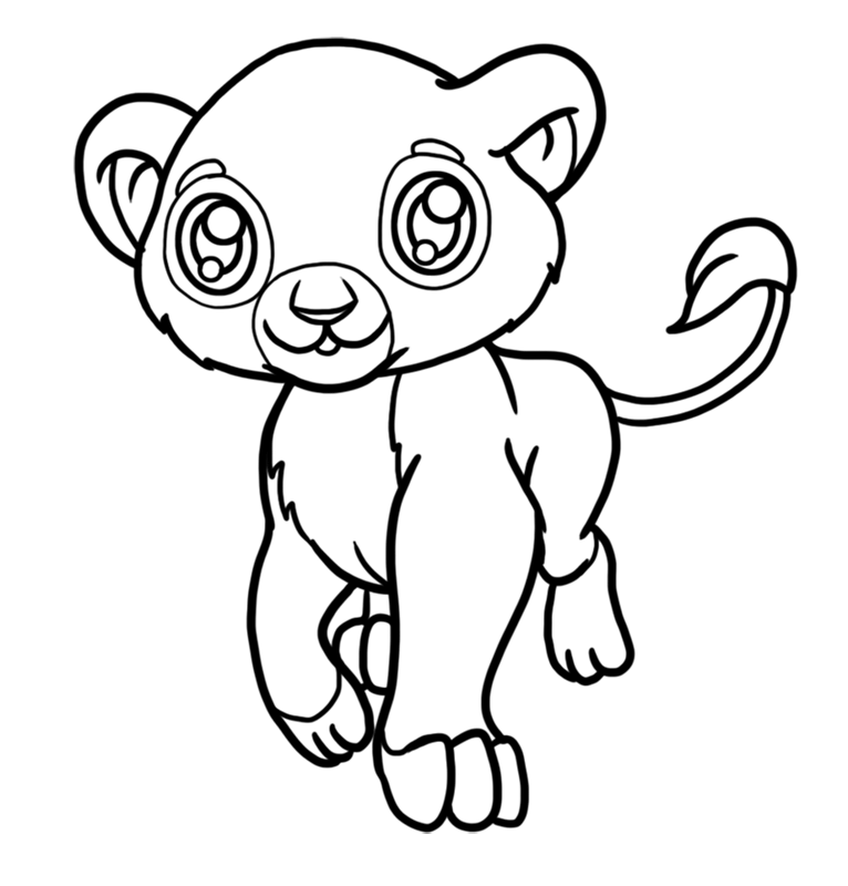 Learn easy to draw Baby Lion step 07