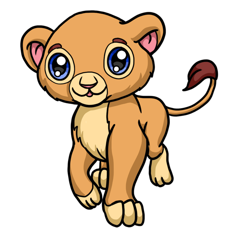 Learn easy to draw Baby Lion step 08