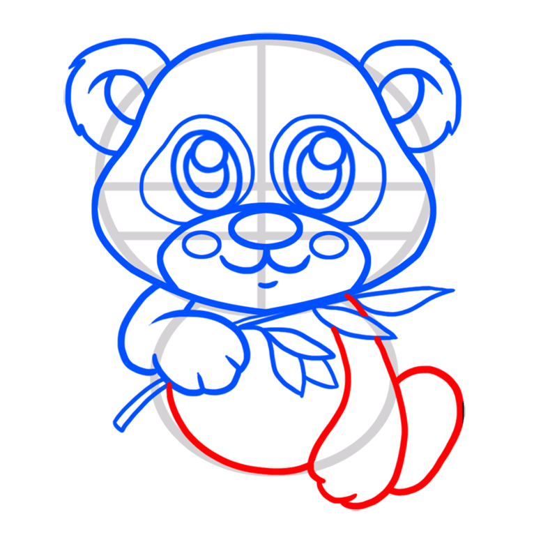Learn easy to draw Baby Panda step 05