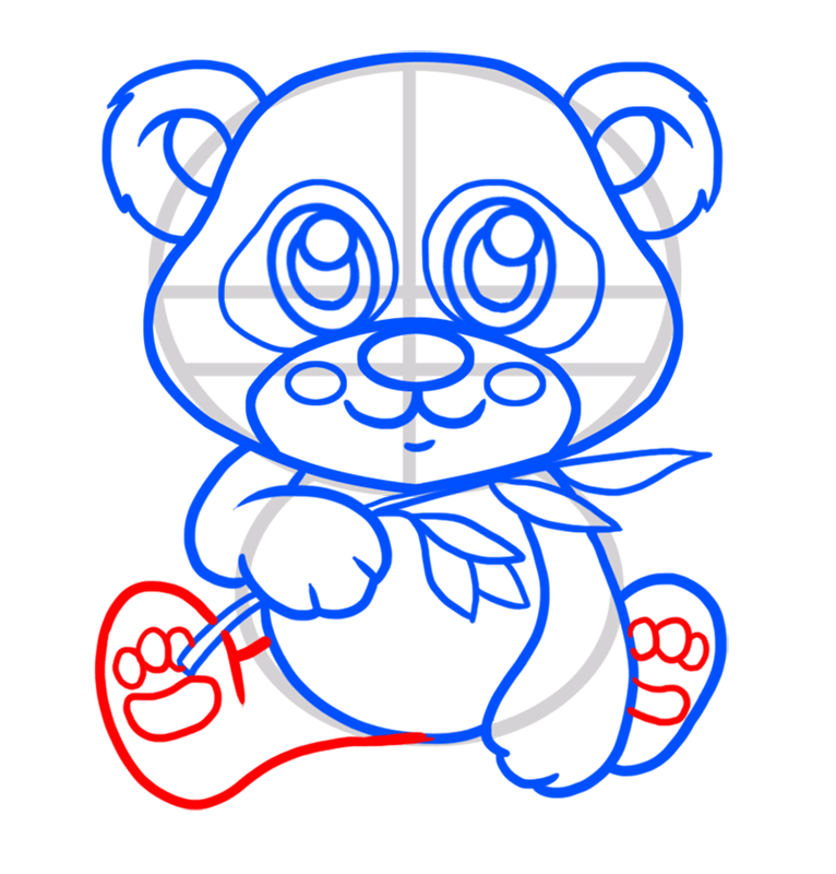 Learn easy to draw Baby Panda step 06