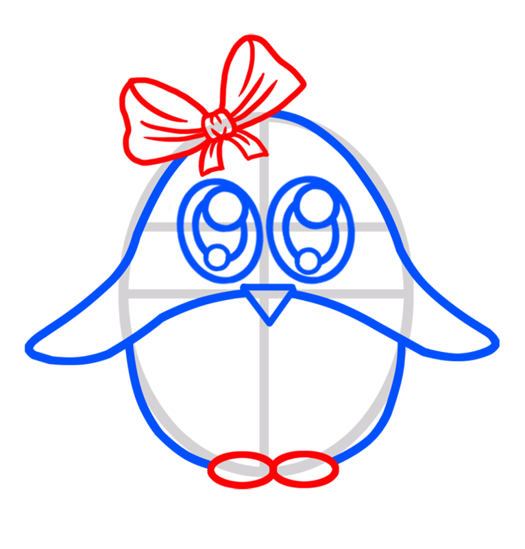 Learn easy to draw Baby Pinguin step 04