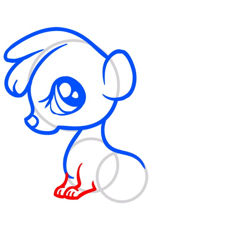 Learn easy to draw Baby Skunk step 06
