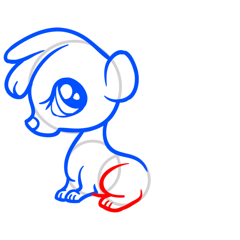 Learn easy to draw Baby Skunk step 07