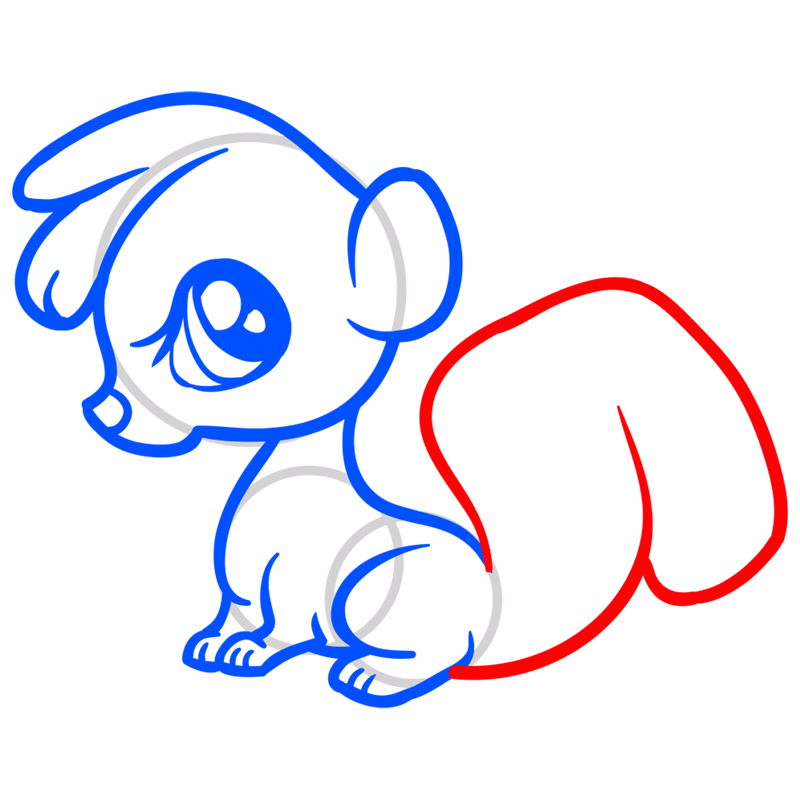 Learn easy to draw Baby Skunk step 08