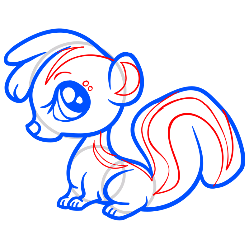 Learn easy to draw Baby Skunk step 09