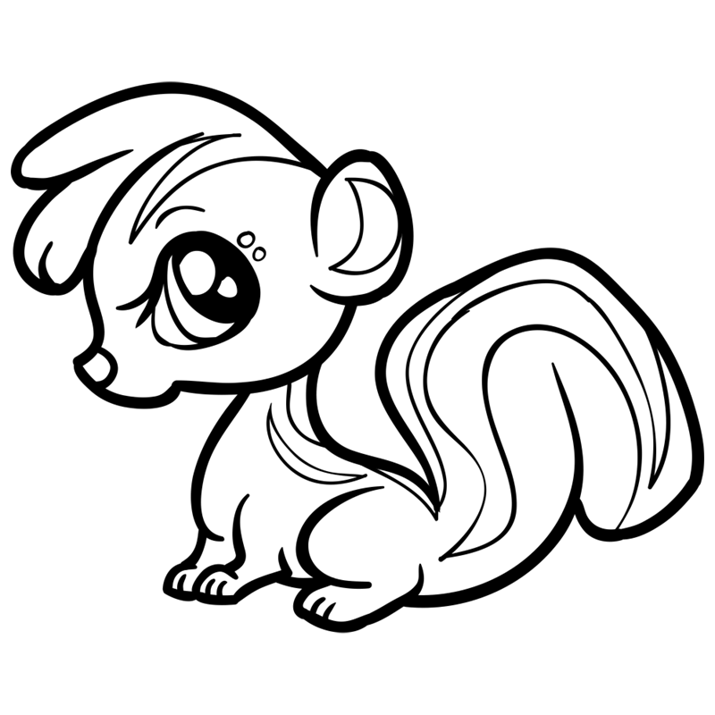 Learn easy to draw Baby Skunk step 10