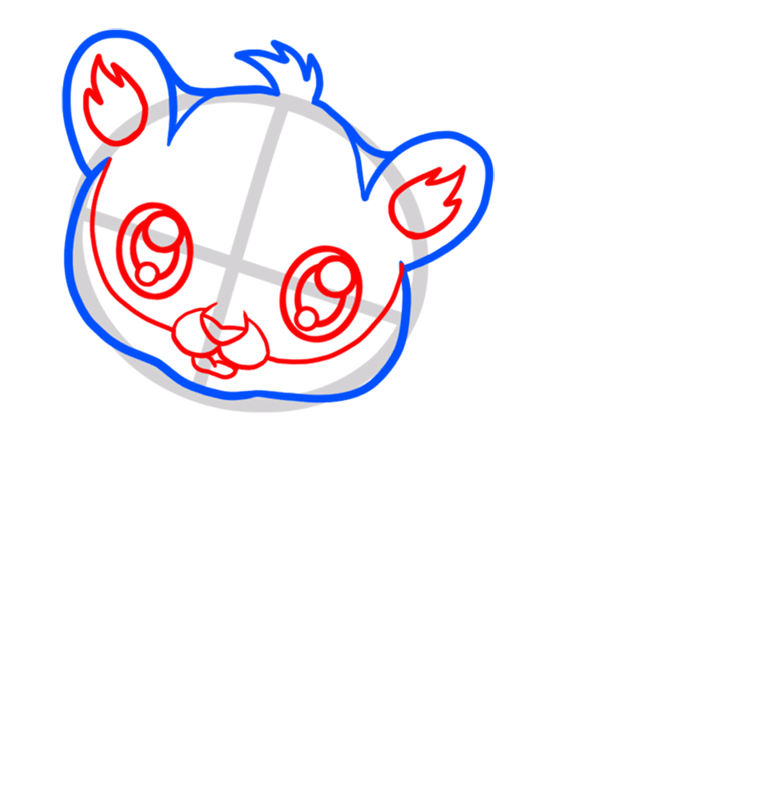 Learn easy to draw Baby Tiger step 03