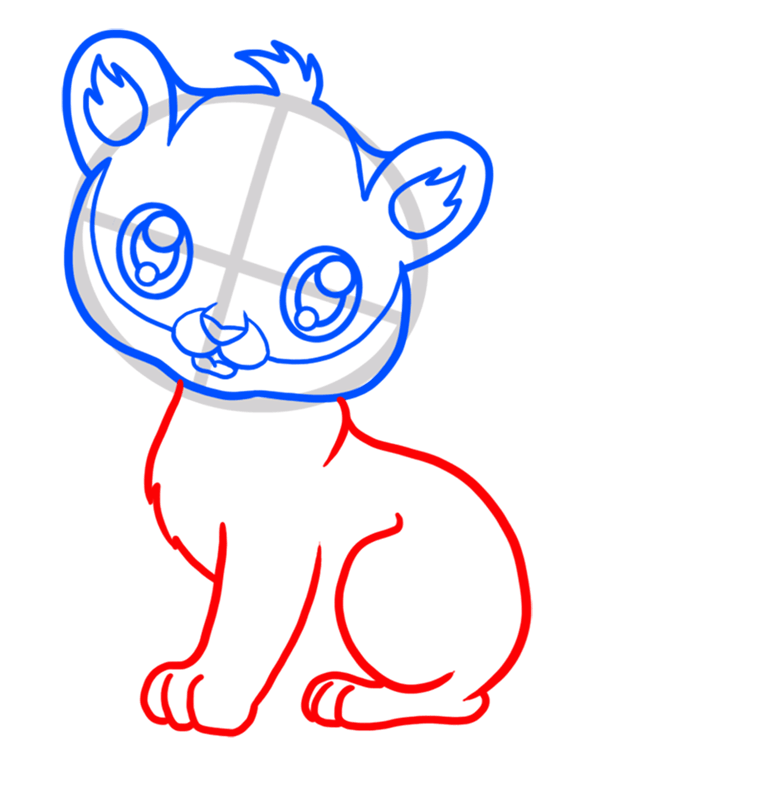 Learn easy to draw Baby Tiger step 04