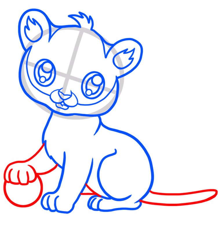 Learn easy to draw Baby Tiger step 05