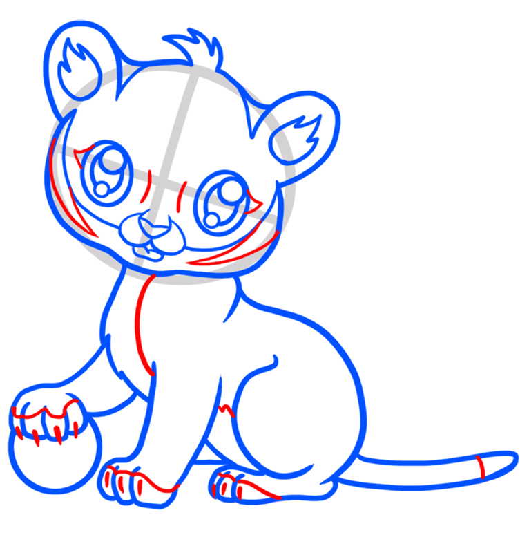 Learn easy to draw Baby Tiger step 06