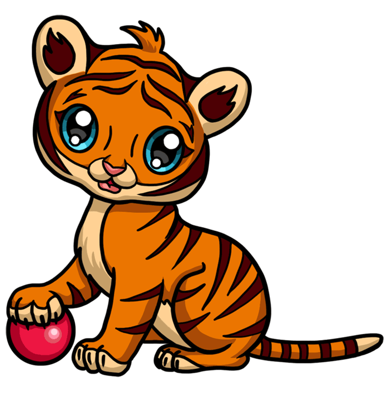 Learn easy to draw Baby Tiger step 09
