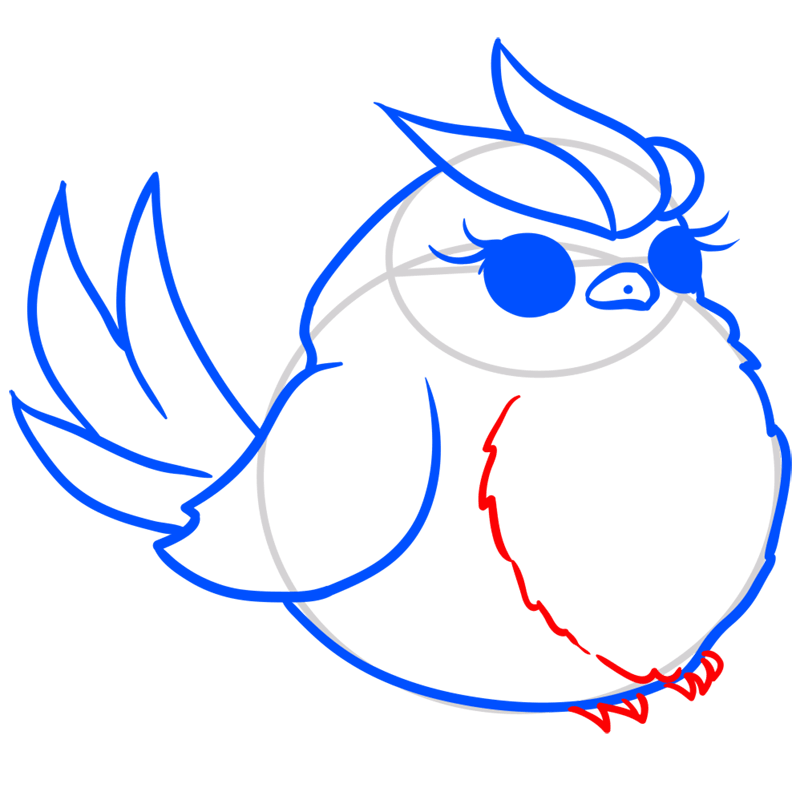 Learn easy to draw Blue Bird step 07