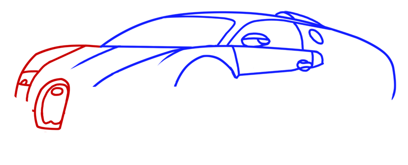 Learn easy to draw Bugatti Veyron step 05