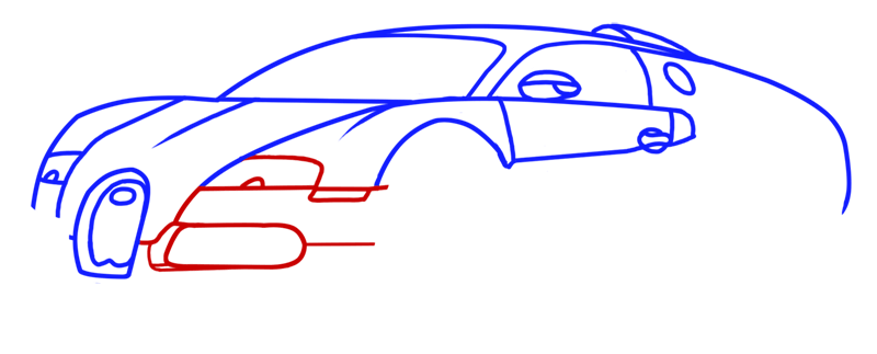 Learn easy to draw Bugatti Veyron step 06
