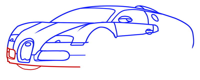 Learn easy to draw Bugatti Veyron step 07