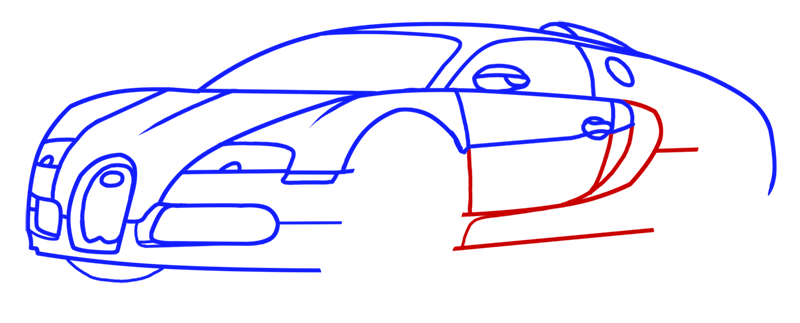 Learn easy to draw Bugatti Veyron step 08