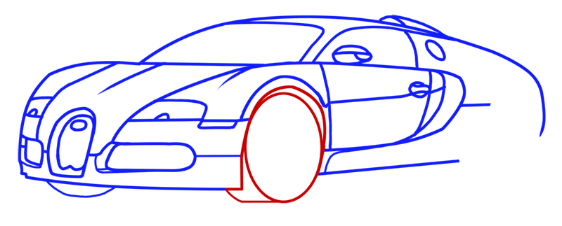 Learn easy to draw Bugatti Veyron step 09