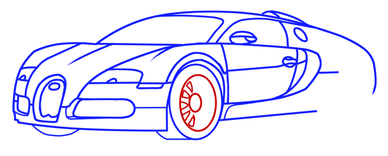 Learn easy to draw Bugatti Veyron step 10