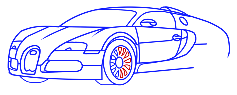Learn easy to draw Bugatti Veyron step 11