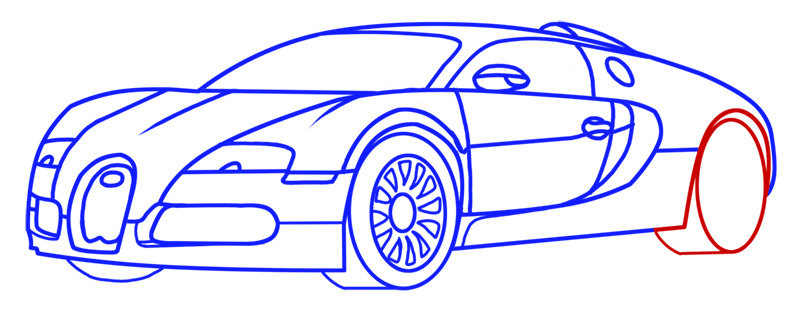Learn easy to draw Bugatti Veyron step 12