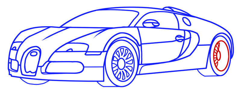 Learn easy to draw Bugatti Veyron step 13