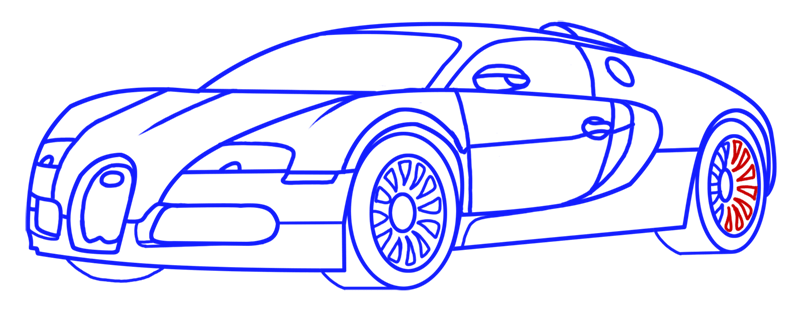 Learn easy to draw Bugatti Veyron step 14