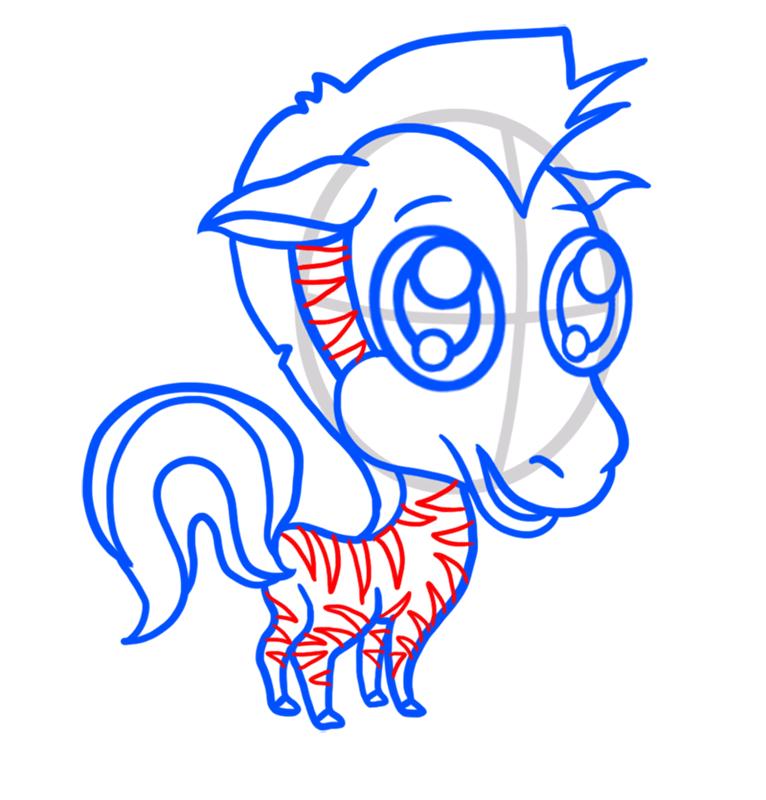 Learn easy to draw Chibi Zebra step 07