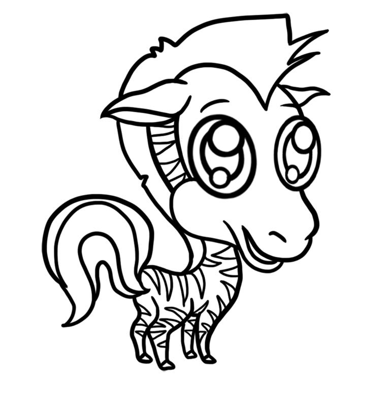 Learn easy to draw Chibi Zebra step 08