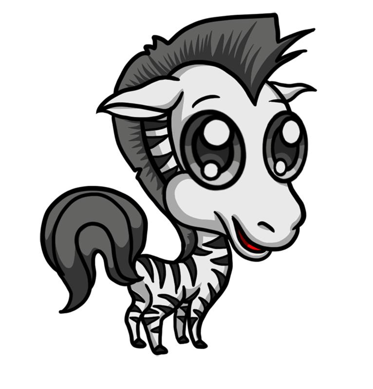 Learn easy to draw Chibi Zebra step 09