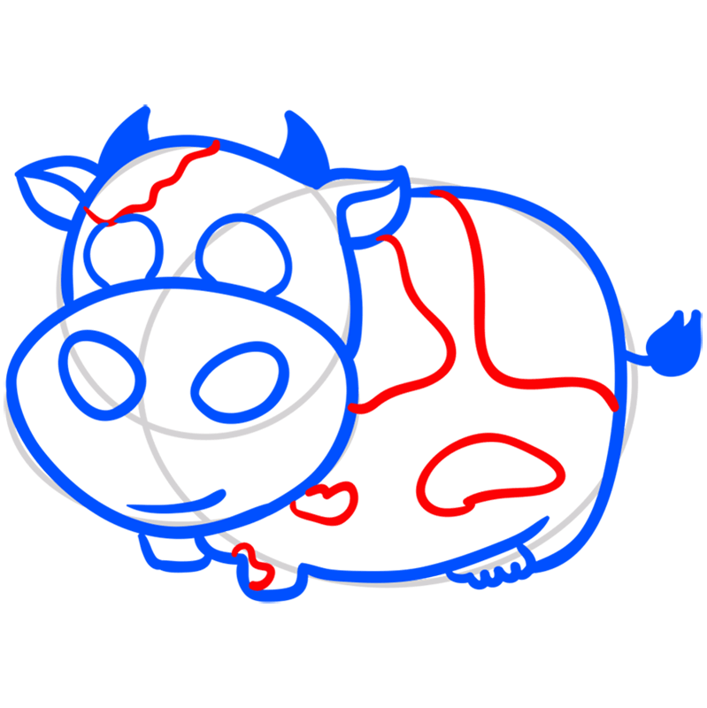 Learn easy to draw Cow step 07