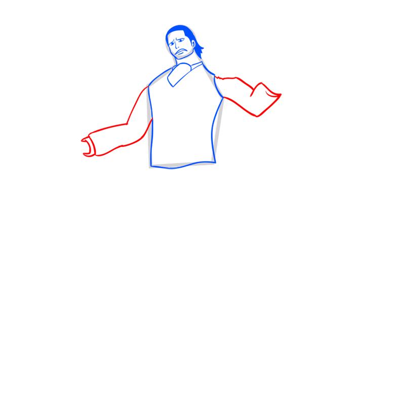 Learn easy to draw Crocodile One Piece step 07