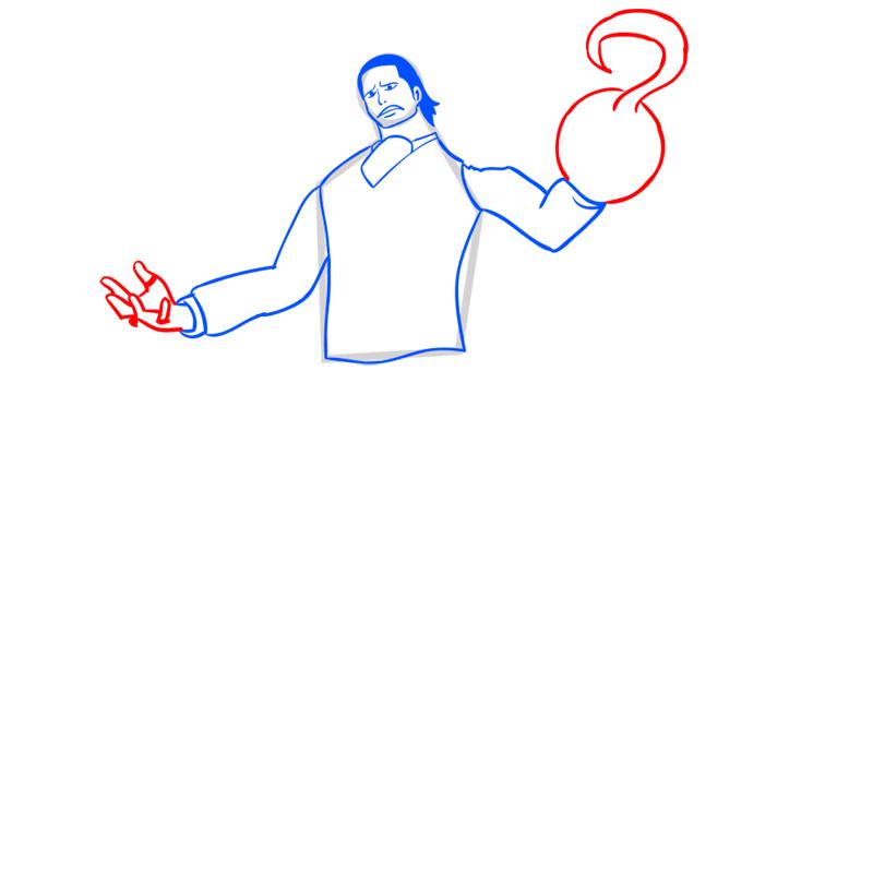 Learn easy to draw Crocodile One Piece step 08