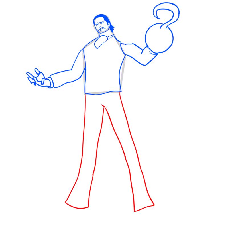 Learn easy to draw Crocodile One Piece step 09