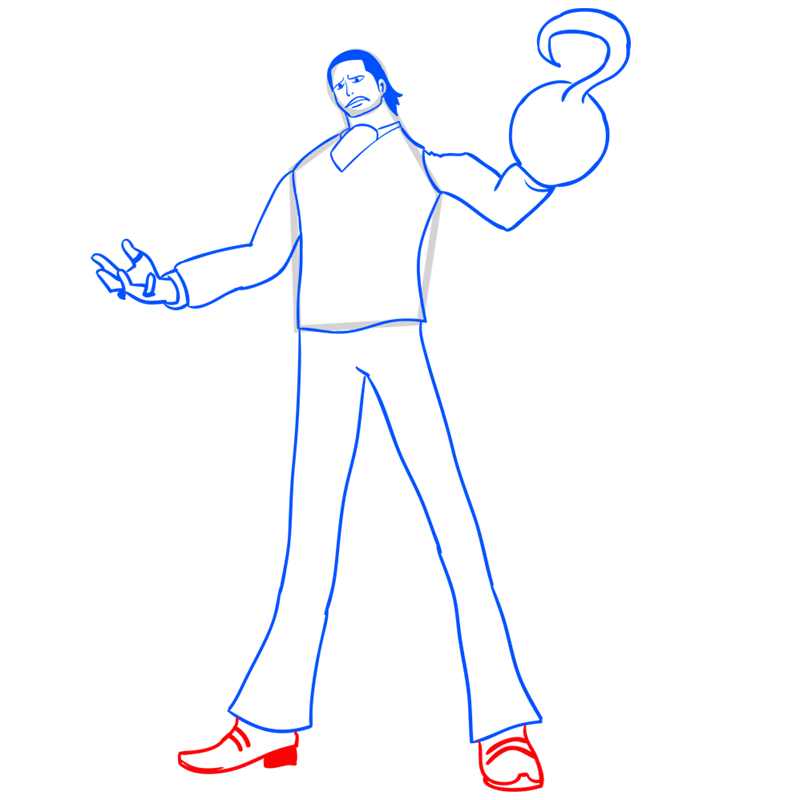Learn easy to draw Crocodile One Piece step 10
